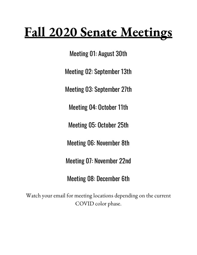 Fall 2020 Senate Meetings